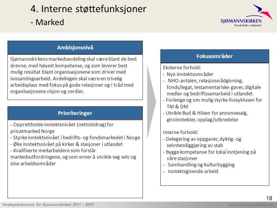 ' Strategidokument for Sjømannskirken 2011 – 2016 www.sjomannskirken.no 16 4. Interne støttefunksjoner - Marked Prioriteringer - Opprettholde inntekts