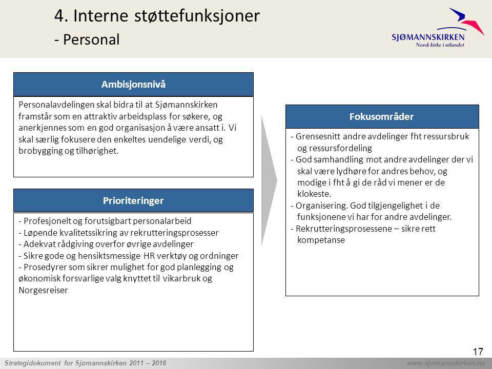 ' Strategidokument for Sjømannskirken 2011 – 2016 www.sjomannskirken.no 17 4. Interne støttefunksjoner - Personal Prioriteringer - Profesjonelt og for