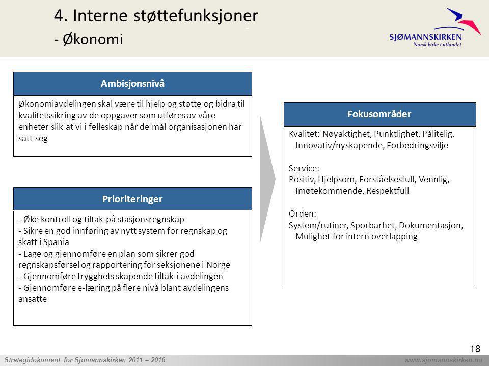 ' Strategidokument for Sjømannskirken 2011 – 2016 www.sjomannskirken.no 18 4. Interne støttefunksjoner - Økonomi Prioriteringer - Øke kontroll og tilt
