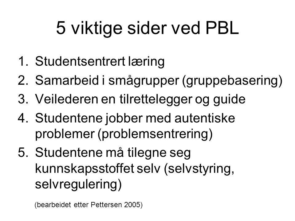 5 viktige sider ved PBL 1.Studentsentrert læring 2.Samarbeid i smågrupper (gruppebasering) 3.Veilederen en tilrettelegger og guide 4.Studentene jobber med autentiske problemer (problemsentrering) 5.Studentene må tilegne seg kunnskapsstoffet selv (selvstyring, selvregulering) (bearbeidet etter Pettersen 2005)