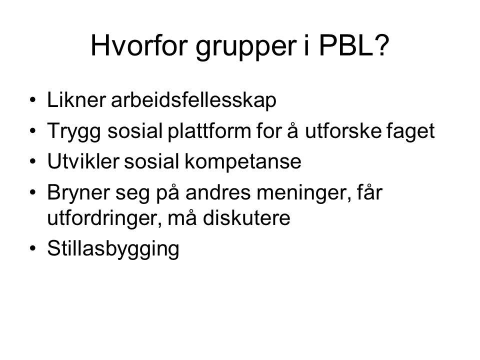 Hvorfor grupper i PBL? •Likner arbeidsfellesskap •Trygg sosial plattform for å utforske faget •Utvikler sosial kompetanse •Bryner seg på andres mening
