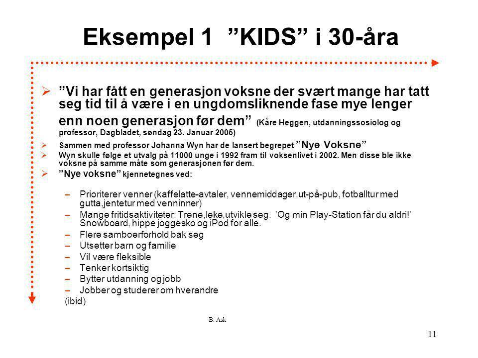 """B. Ask 11 Eksempel 1 """"KIDS"""" i 30-åra  """"Vi har fått en generasjon voksne der svært mange har tatt seg tid til å være i en ungdomsliknende fase mye len"""