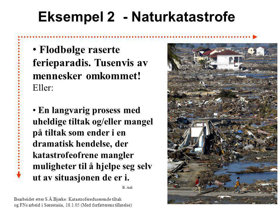 B. Ask 12 Eksempel 2 - Naturkatastrofe • Flodbølge raserte ferieparadis. Tusenvis av mennesker omkommet! Eller: • En langvarig prosess med uheldige ti
