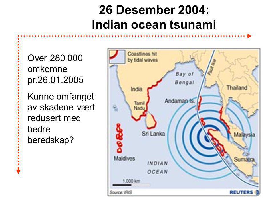 B. Ask 13 26 Desember 2004: Indian ocean tsunami Over 280 000 omkomne pr.26.01.2005 Kunne omfanget av skadene vært redusert med bedre beredskap?
