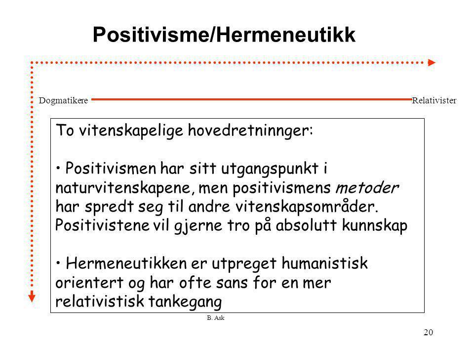 B. Ask 20 Positivisme/Hermeneutikk To vitenskapelige hovedretninnger: • Positivismen har sitt utgangspunkt i naturvitenskapene, men positivismens meto