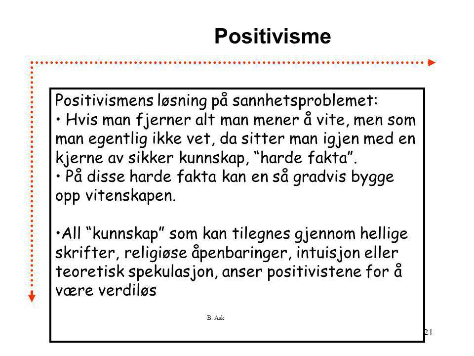 B. Ask 21 Positivisme Positivismens løsning på sannhetsproblemet: • Hvis man fjerner alt man mener å vite, men som man egentlig ikke vet, da sitter ma