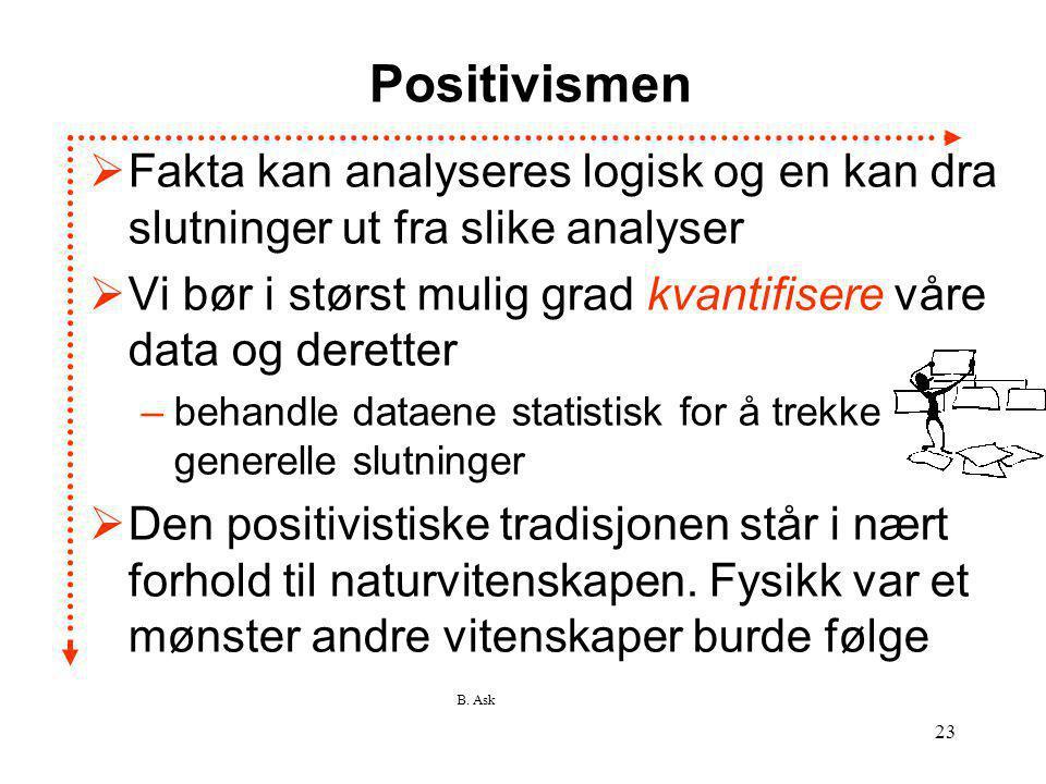 B. Ask 23 Positivismen  Fakta kan analyseres logisk og en kan dra slutninger ut fra slike analyser  Vi bør i størst mulig grad kvantifisere våre dat
