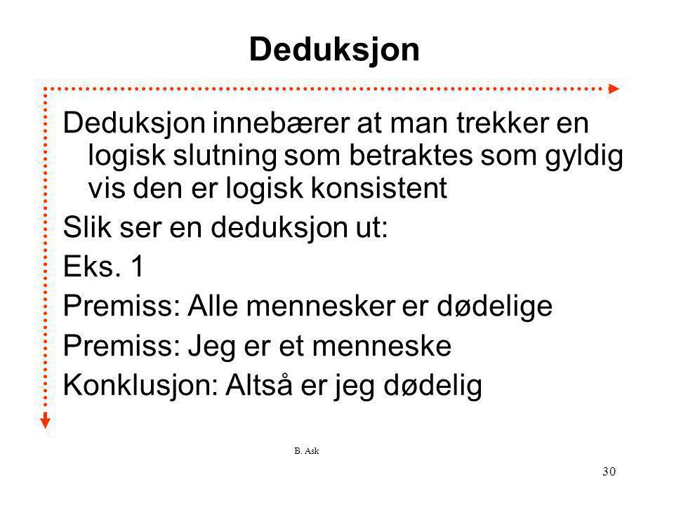 B. Ask 30 Deduksjon Deduksjon innebærer at man trekker en logisk slutning som betraktes som gyldig vis den er logisk konsistent Slik ser en deduksjon
