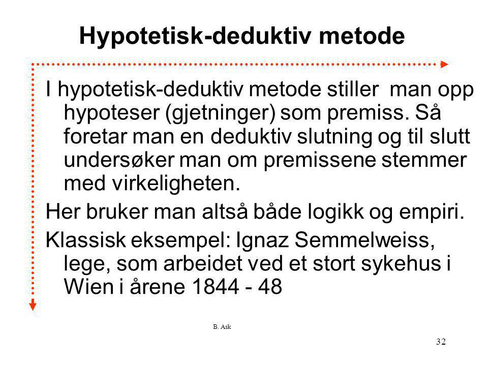 B. Ask 32 Hypotetisk-deduktiv metode I hypotetisk-deduktiv metode stiller man opp hypoteser (gjetninger) som premiss. Så foretar man en deduktiv slutn