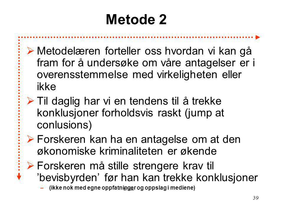 B. Ask 39 Metode 2  Metodelæren forteller oss hvordan vi kan gå fram for å undersøke om våre antagelser er i overensstemmelse med virkeligheten eller