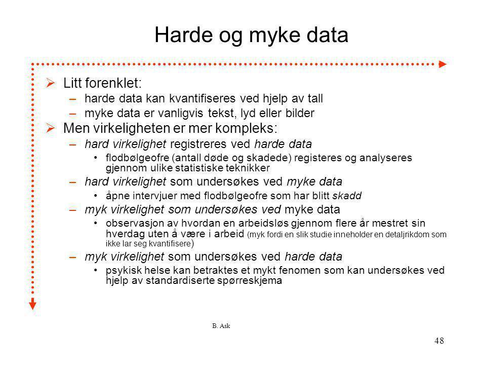B. Ask 48 Harde og myke data  Litt forenklet: –harde data kan kvantifiseres ved hjelp av tall –myke data er vanligvis tekst, lyd eller bilder  Men v