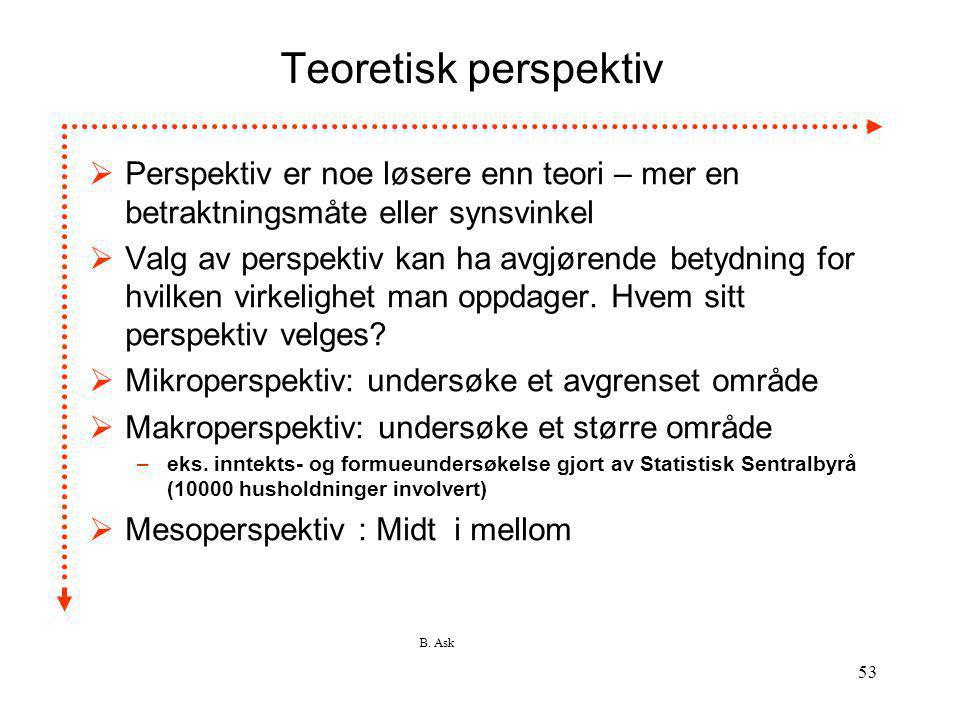 B. Ask 53 Teoretisk perspektiv  Perspektiv er noe løsere enn teori – mer en betraktningsmåte eller synsvinkel  Valg av perspektiv kan ha avgjørende