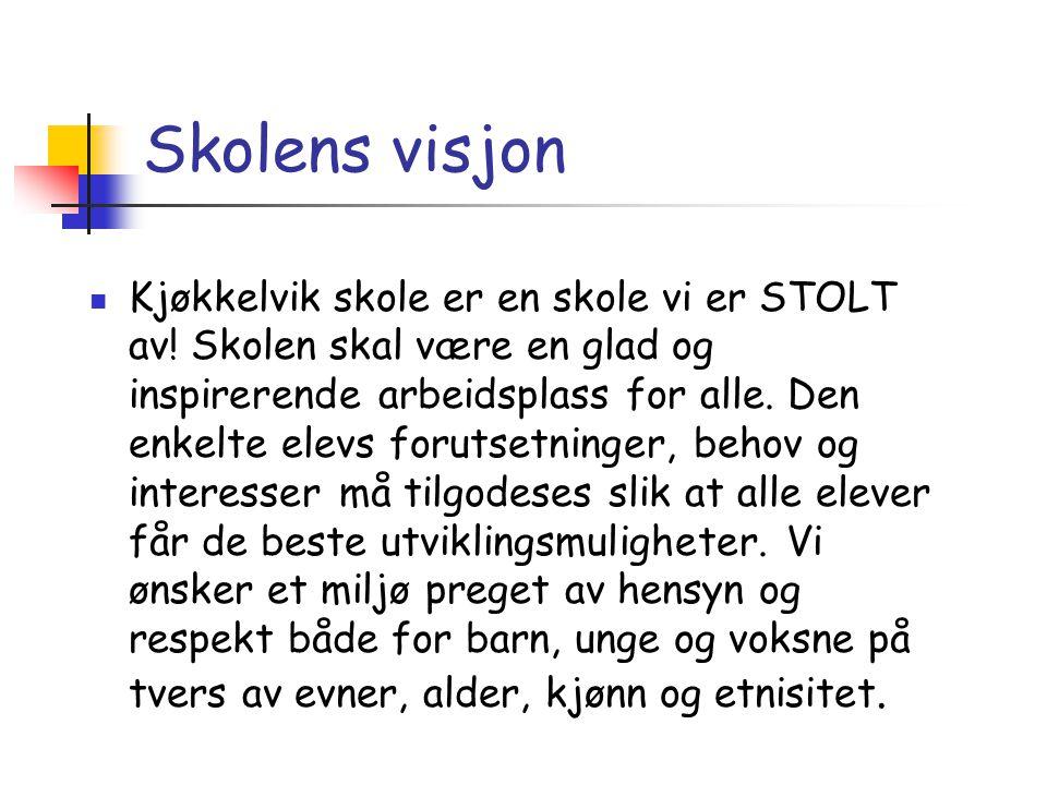 Skolens visjon  Kjøkkelvik skole er en skole vi er STOLT av! Skolen skal være en glad og inspirerende arbeidsplass for alle. Den enkelte elevs foruts