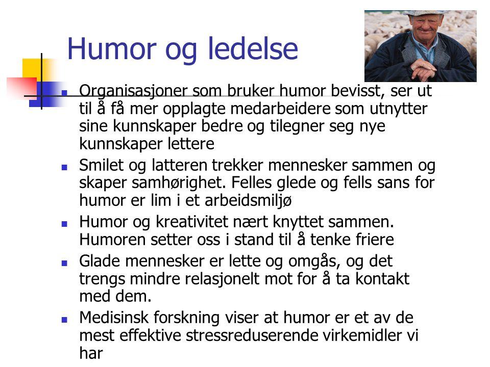 Humor og ledelse  Organisasjoner som bruker humor bevisst, ser ut til å få mer opplagte medarbeidere som utnytter sine kunnskaper bedre og tilegner s