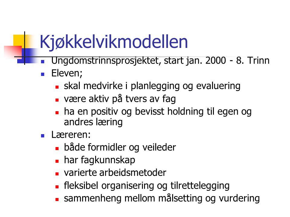 Kjøkkelvikmodellen  Ungdomstrinnsprosjektet, start jan. 2000 - 8. Trinn  Eleven;  skal medvirke i planlegging og evaluering  være aktiv på tvers a
