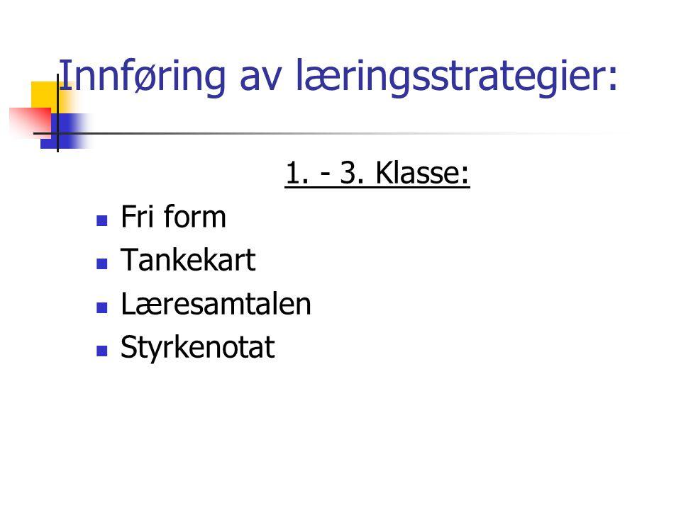 Innføring av læringsstrategier: 1. - 3. Klasse:  Fri form  Tankekart  Læresamtalen  Styrkenotat