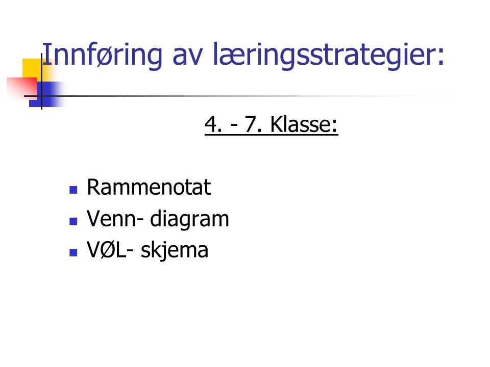 Innføring av læringsstrategier: 8.- 10.