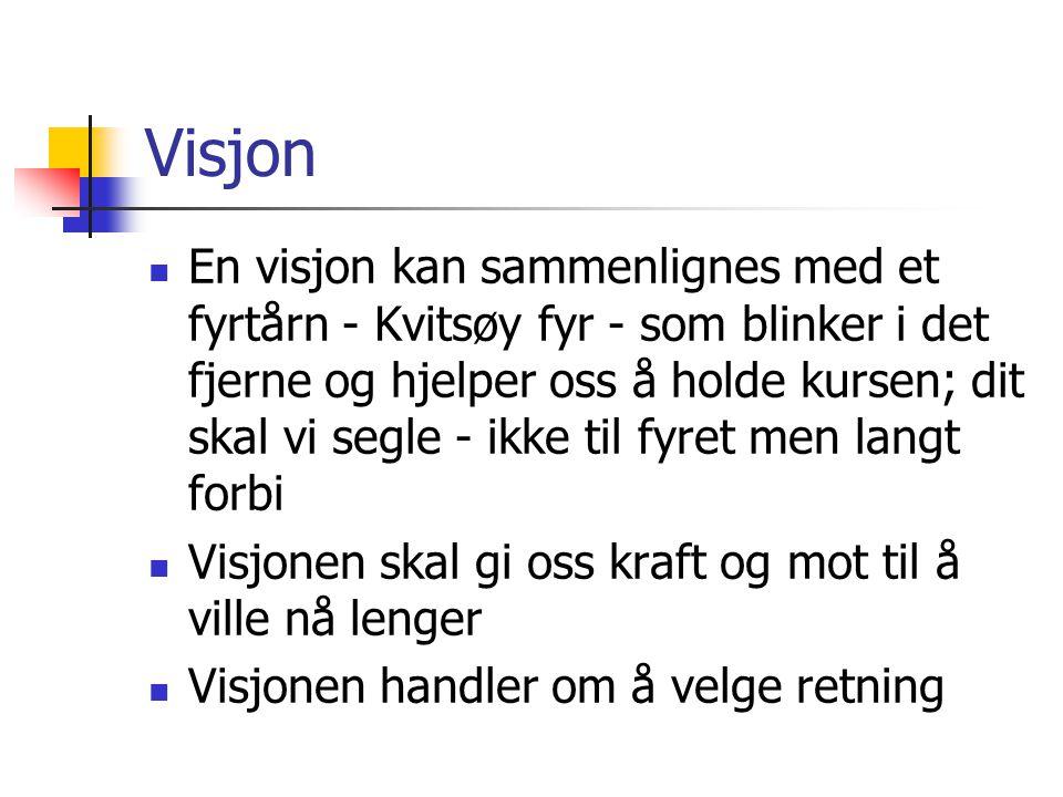 Visjon  En visjon kan sammenlignes med et fyrtårn - Kvitsøy fyr - som blinker i det fjerne og hjelper oss å holde kursen; dit skal vi segle - ikke ti
