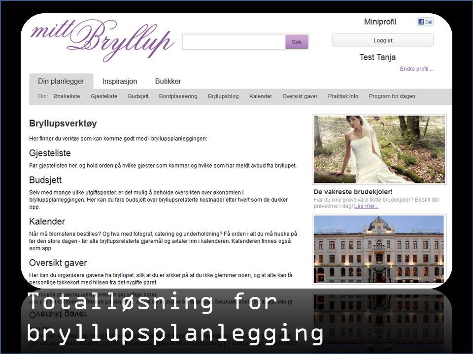 Totalløsning for bryllupsplanlegging