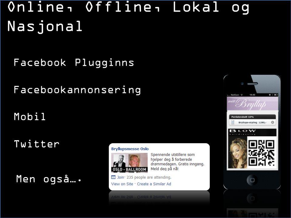 Facebook Plugginns Facebookannonsering Mobil Twitter Online, Offline, Lokal og Nasjonal Men også….