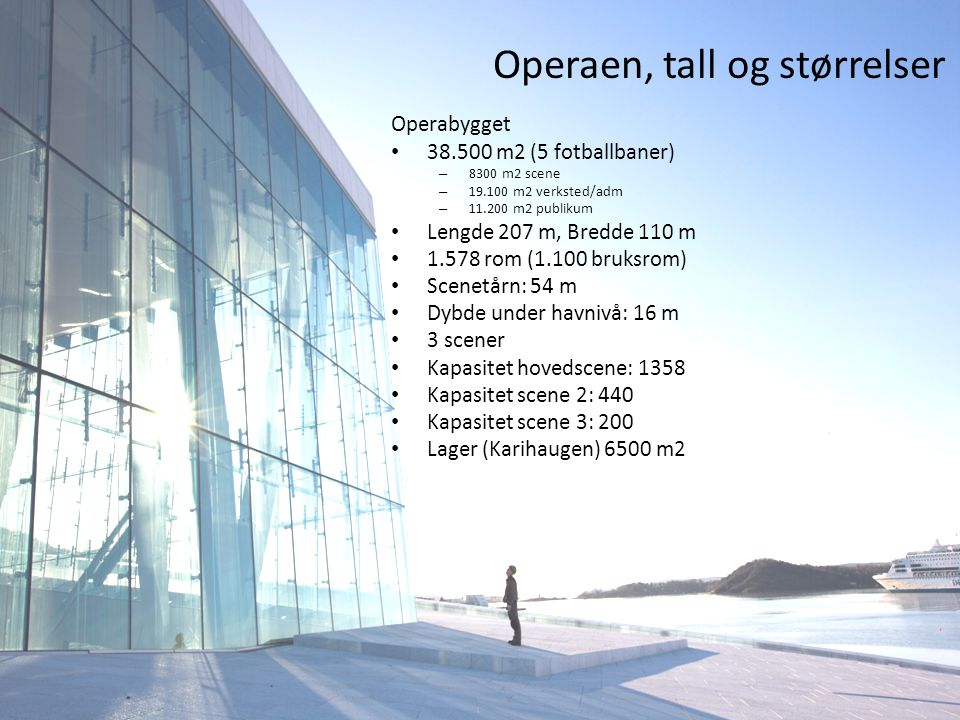 Operaen, tall og størrelser Operabygget • 38.500 m2 (5 fotballbaner) – 8300 m2 scene – 19.100 m2 verksted/adm – 11.200 m2 publikum • Lengde 207 m, Bredde 110 m • 1.578 rom (1.100 bruksrom) • Scenetårn: 54 m • Dybde under havnivå: 16 m • 3 scener • Kapasitet hovedscene: 1358 • Kapasitet scene 2: 440 • Kapasitet scene 3: 200 • Lager (Karihaugen) 6500 m2