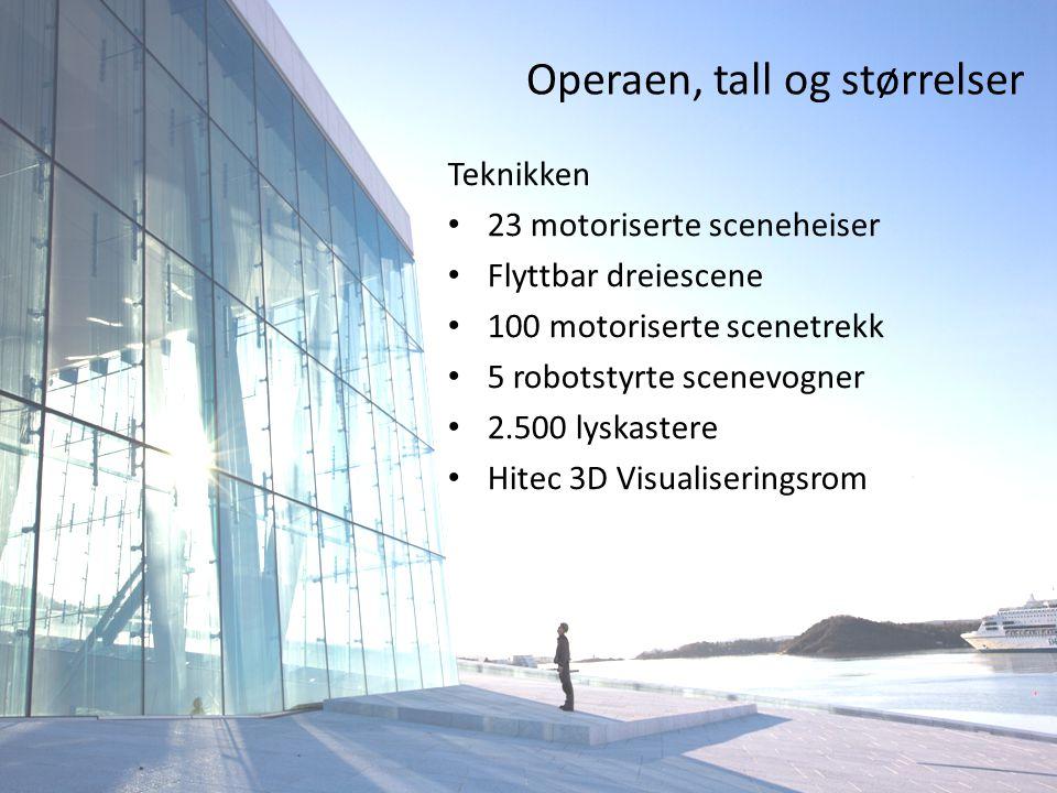 Operaen, tall og størrelser Teknikken • 23 motoriserte sceneheiser • Flyttbar dreiescene • 100 motoriserte scenetrekk • 5 robotstyrte scenevogner • 2.500 lyskastere • Hitec 3D Visualiseringsrom