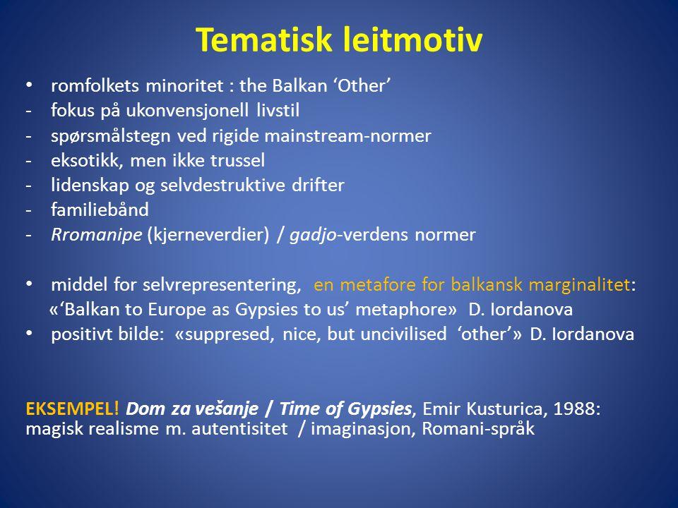 Tematisk leitmotiv • romfolkets minoritet : the Balkan 'Other' -fokus på ukonvensjonell livstil -spørsmålstegn ved rigide mainstream-normer -eksotikk,