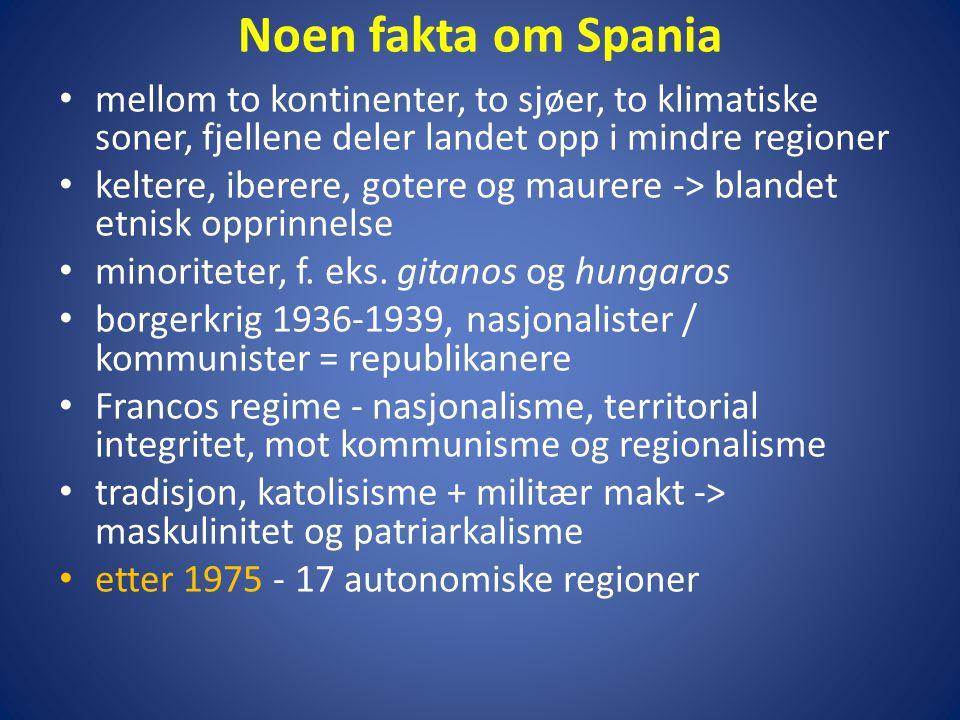Noen fakta om Spania • mellom to kontinenter, to sjøer, to klimatiske soner, fjellene deler landet opp i mindre regioner • keltere, iberere, gotere og maurere -> blandet etnisk opprinnelse • minoriteter, f.