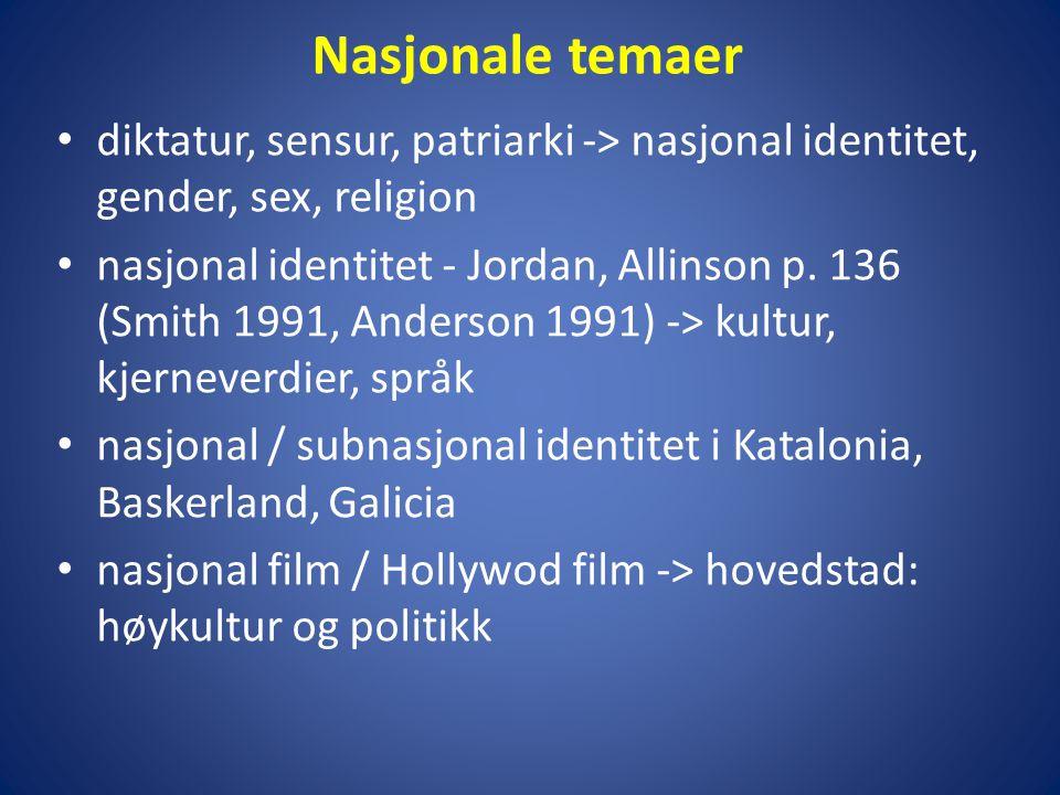 Nasjonale temaer • diktatur, sensur, patriarki -> nasjonal identitet, gender, sex, religion • nasjonal identitet - Jordan, Allinson p.