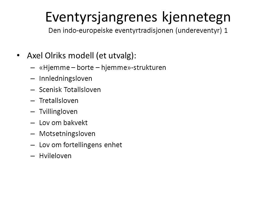 Eventyrsjangrenes kjennetegn Den indo-europeiske eventyrtradisjonen (undereventyr) 1 • Axel Olriks modell (et utvalg): – «Hjemme – borte – hjemme»-str