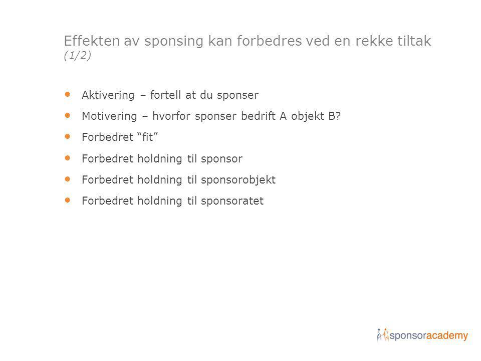 Effekten av sponsing kan forbedres ved en rekke tiltak (1/2) • Aktivering – fortell at du sponser • Motivering – hvorfor sponser bedrift A objekt B.
