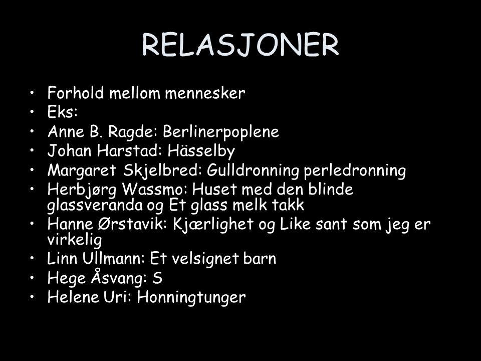 RELASJONER •Forhold mellom mennesker •Eks: •Anne B. Ragde: Berlinerpoplene •Johan Harstad: Hässelby •Margaret Skjelbred: Gulldronning perledronning •H