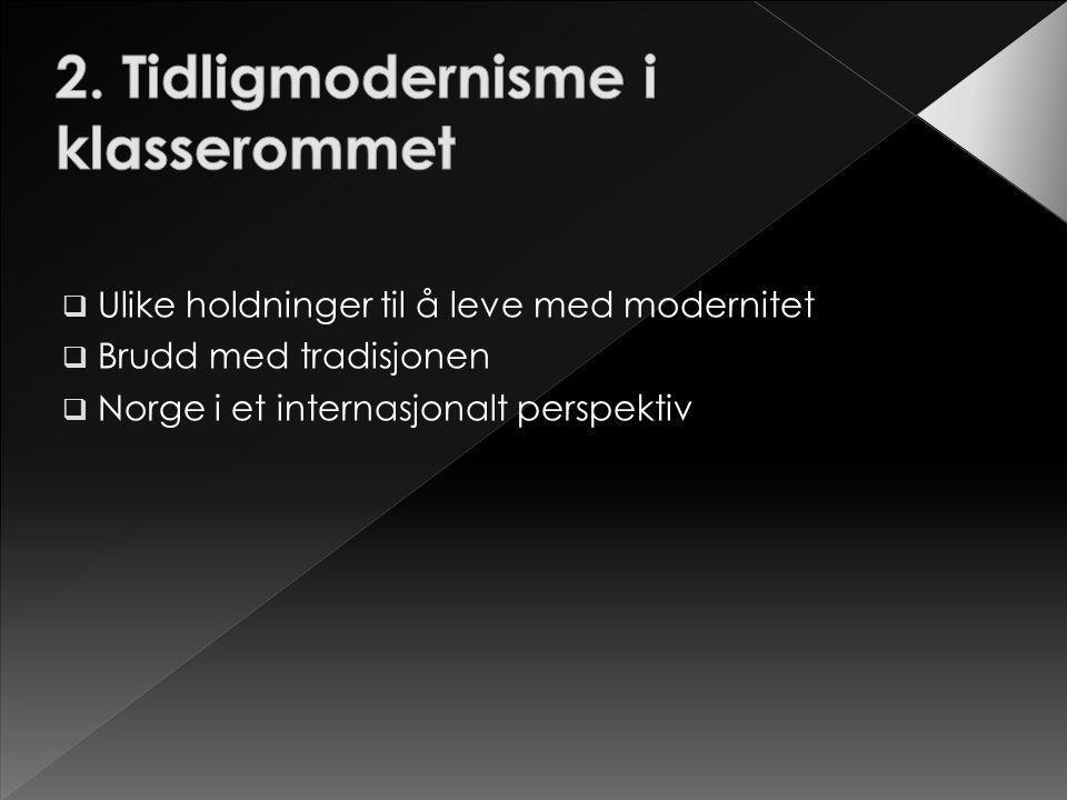  Ulike holdninger til å leve med modernitet  Brudd med tradisjonen  Norge i et internasjonalt perspektiv