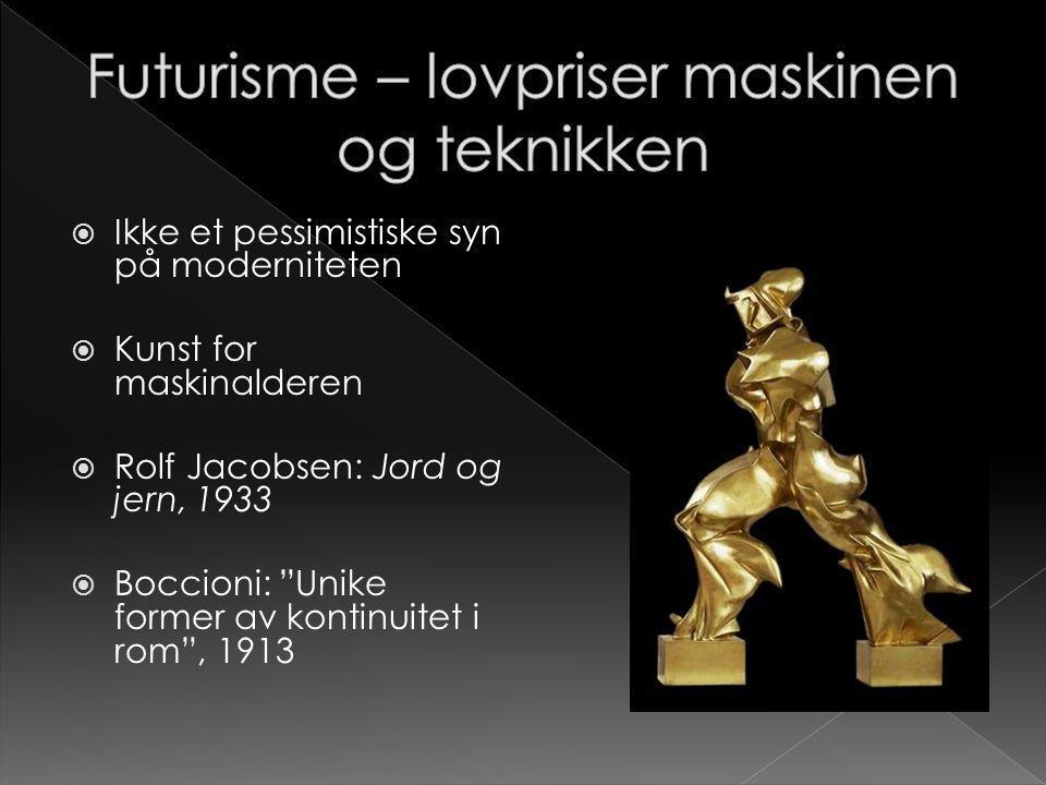 """ Ikke et pessimistiske syn på moderniteten  Kunst for maskinalderen  Rolf Jacobsen: Jord og jern, 1933  Boccioni: """"Unike former av kontinuitet i r"""