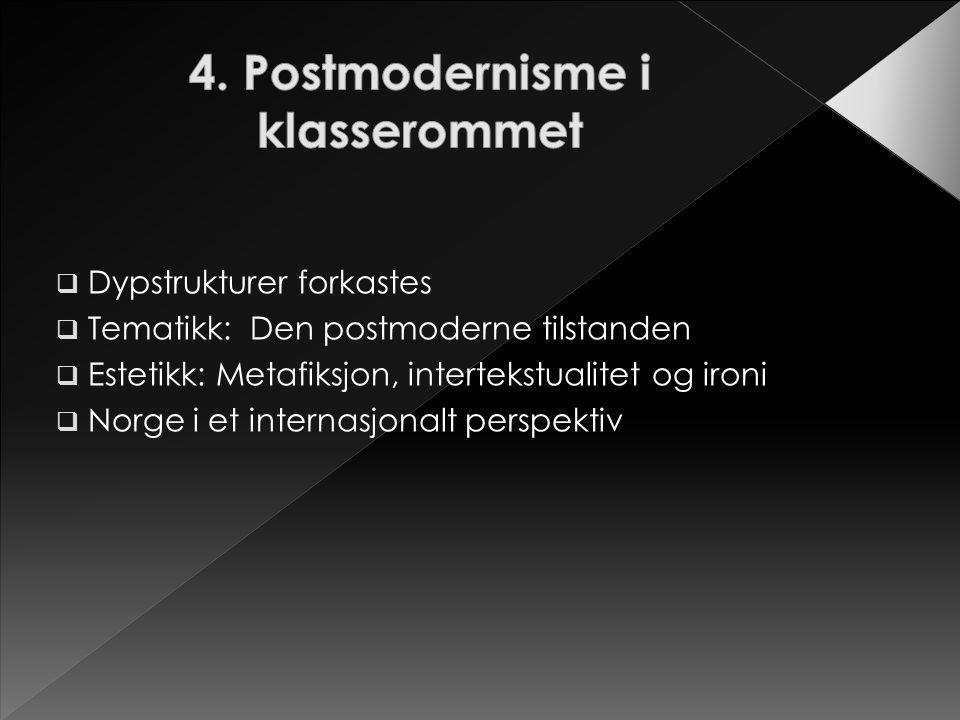  Dypstrukturer forkastes  Tematikk: Den postmoderne tilstanden  Estetikk: Metafiksjon, intertekstualitet og ironi  Norge i et internasjonalt persp