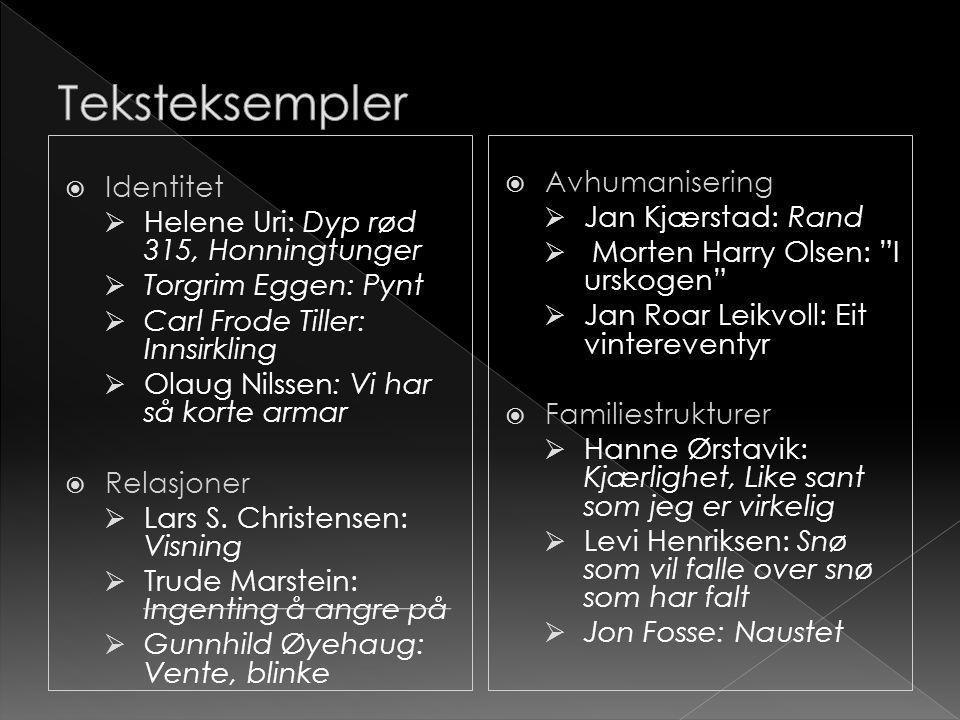  Identitet  Helene Uri: Dyp rød 315, Honningtunger  Torgrim Eggen: Pynt  Carl Frode Tiller: Innsirkling  Olaug Nilssen: Vi har så korte armar  R