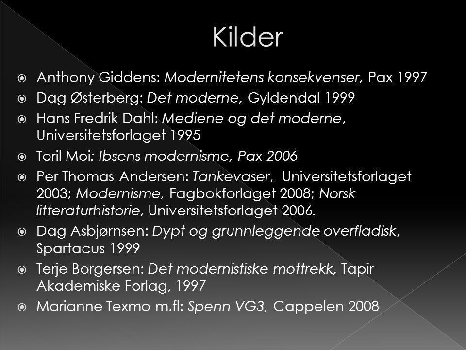  Anthony Giddens: Modernitetens konsekvenser, Pax 1997  Dag Østerberg: Det moderne, Gyldendal 1999  Hans Fredrik Dahl: Mediene og det moderne, Univ