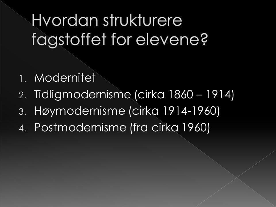 1. Modernitet 2. Tidligmodernisme (cirka 1860 – 1914) 3. Høymodernisme (cirka 1914-1960) 4. Postmodernisme (fra cirka 1960)