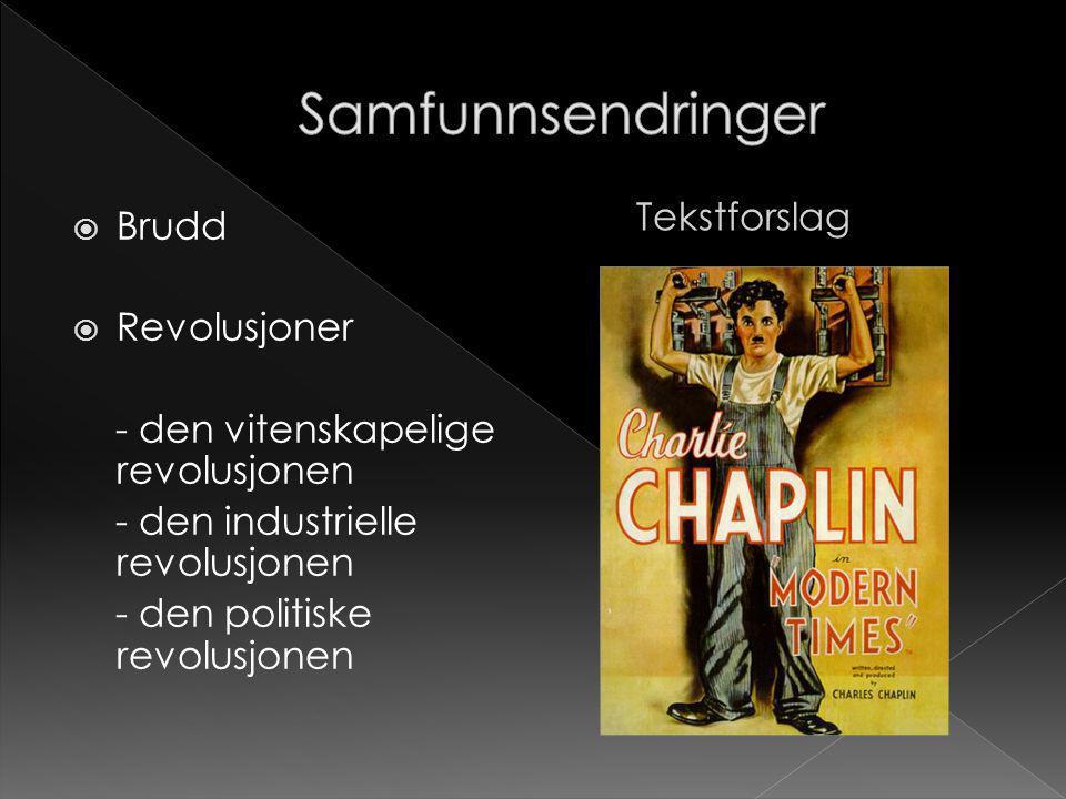  Brudd  Revolusjoner - den vitenskapelige revolusjonen - den industrielle revolusjonen - den politiske revolusjonen Tekstforslag
