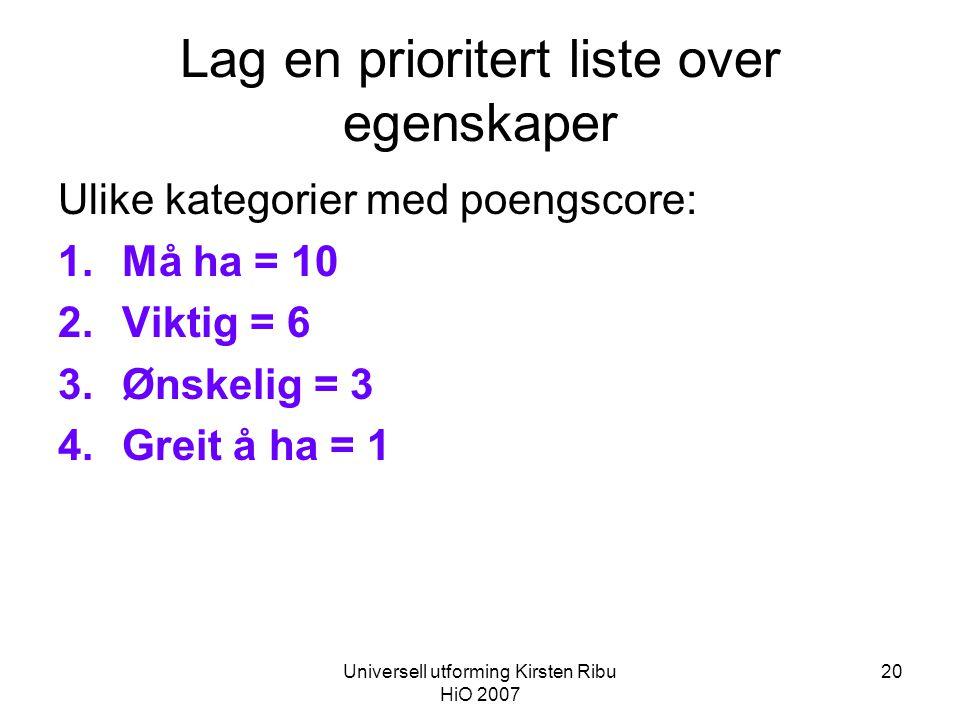 Universell utforming Kirsten Ribu HiO 2007 20 Lag en prioritert liste over egenskaper Ulike kategorier med poengscore: 1.Må ha = 10 2.Viktig = 6 3.Ønskelig = 3 4.Greit å ha = 1