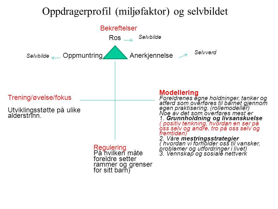 Oppdragerprofil (miljøfaktor) og selvbildet Ros Anerkjennelse Selvverd Oppmuntring Modellering Foreldrenes egne holdninger, tanker og atferd som overf