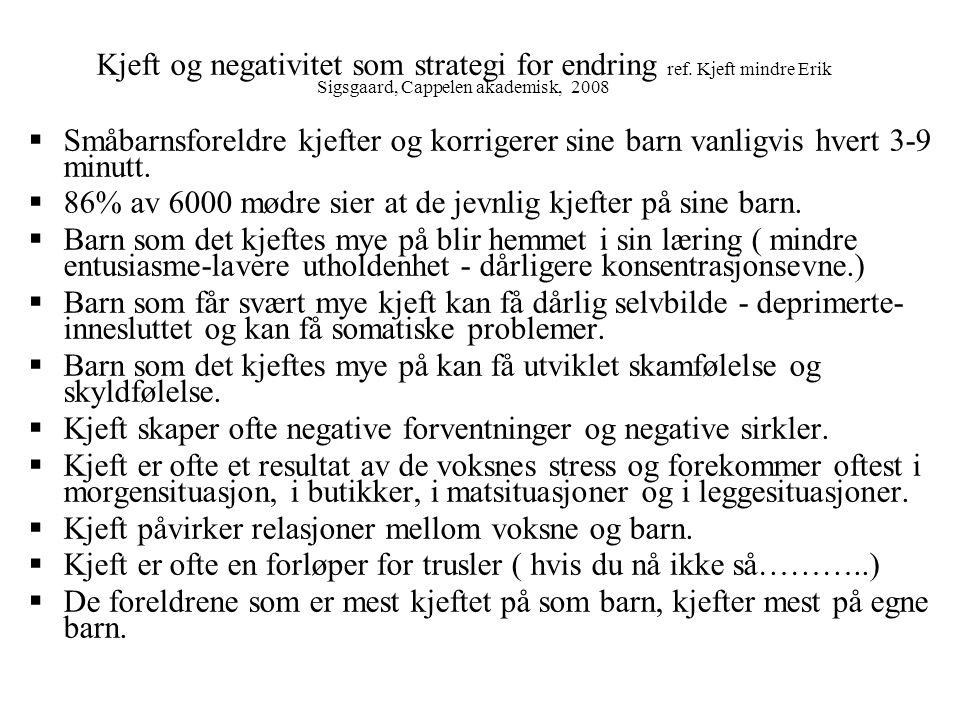 Kjeft og negativitet som strategi for endring ref. Kjeft mindre Erik Sigsgaard, Cappelen akademisk, 2008  Småbarnsforeldre kjefter og korrigerer sine