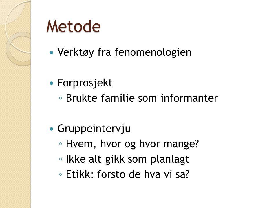 Metode  Verktøy fra fenomenologien  Forprosjekt ◦ Brukte familie som informanter  Gruppeintervju ◦ Hvem, hvor og hvor mange? ◦ Ikke alt gikk som pl