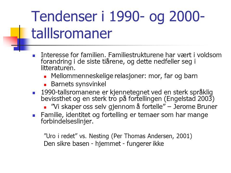 Tendenser i 1990- og 2000- talllsromaner  Interesse for familien. Familiestrukturene har vært i voldsom forandring i de siste tiårene, og dette nedfe