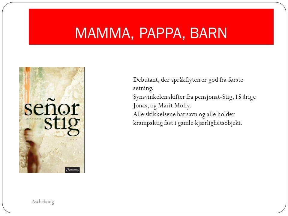 MAMMA, PAPPA, BARN Debutant, der språkflyten er god fra første setning. Synsvinkelen skifter fra pensjonat-Stig, 15 årige Jonas, og Marit Molly. Alle