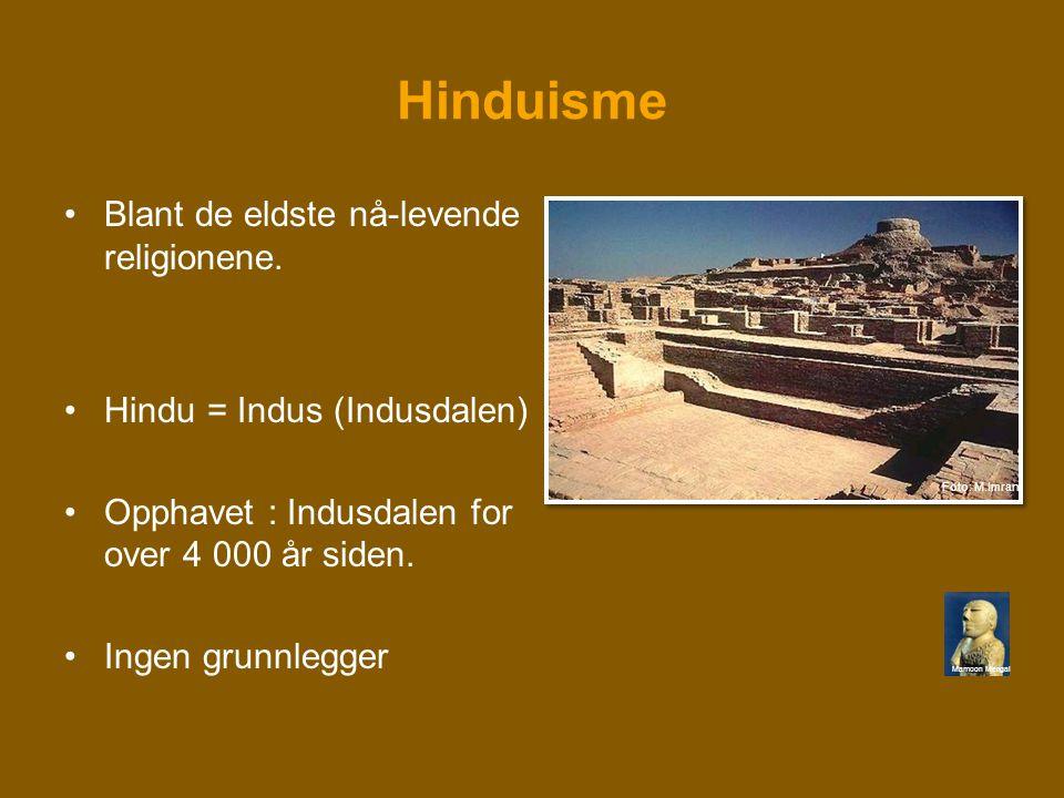 Hinduisme •Blant de eldste nå-levende religionene. •Hindu = Indus (Indusdalen) •Opphavet : Indusdalen for over 4 000 år siden. •Ingen grunnlegger Mamo
