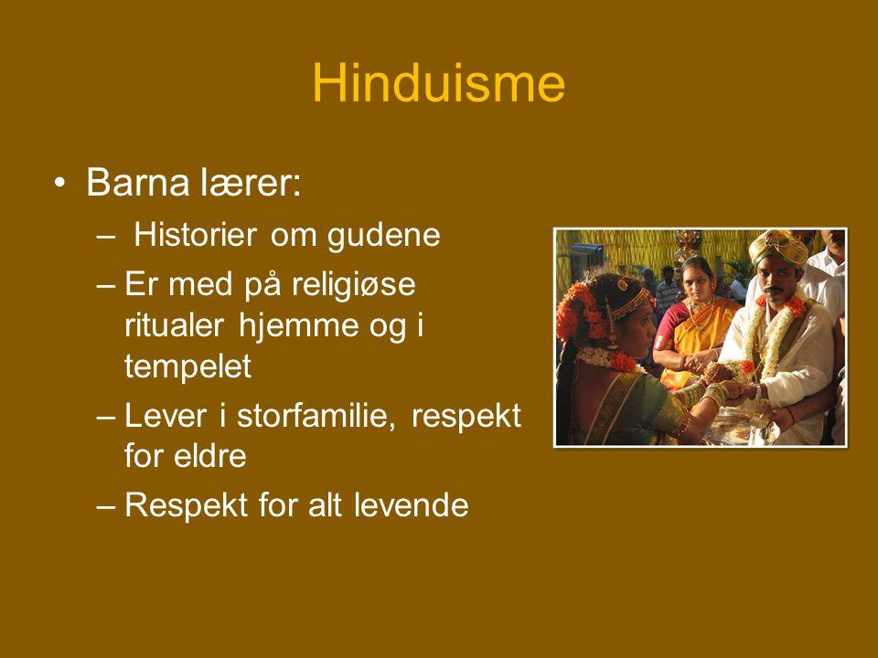 Hinduisme •Barna lærer: – Historier om gudene –Er med på religiøse ritualer hjemme og i tempelet –Lever i storfamilie, respekt for eldre –Respekt for
