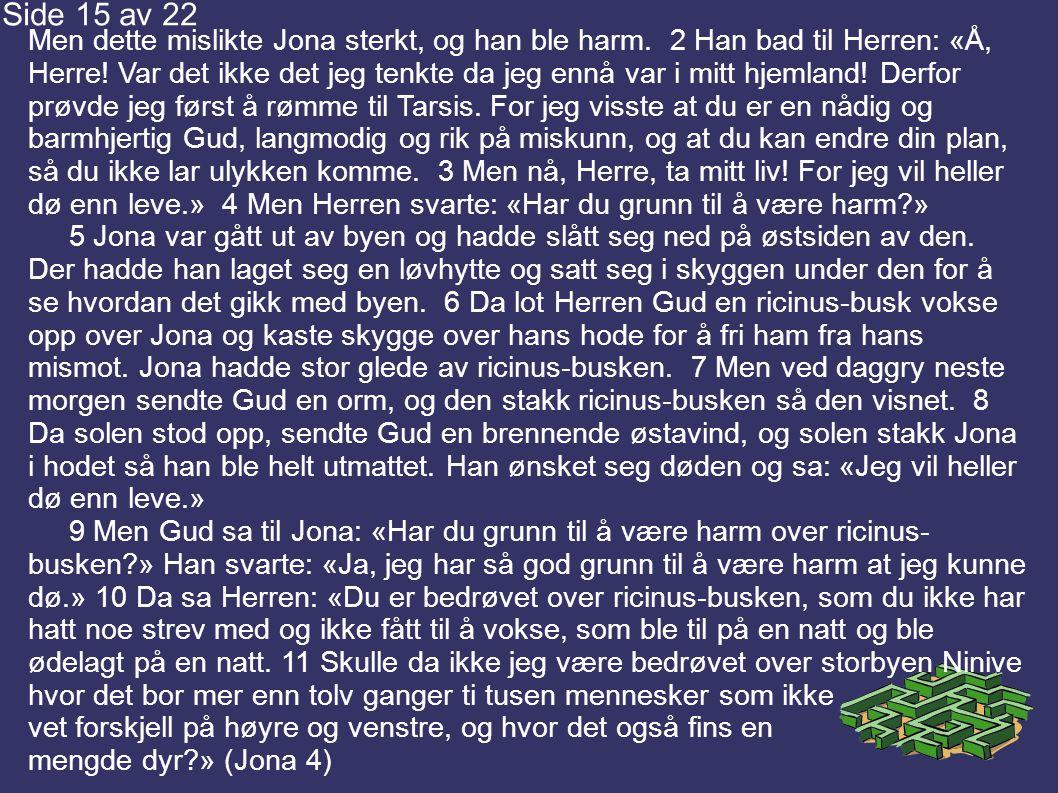 Men dette mislikte Jona sterkt, og han ble harm.2 Han bad til Herren: «Å, Herre.