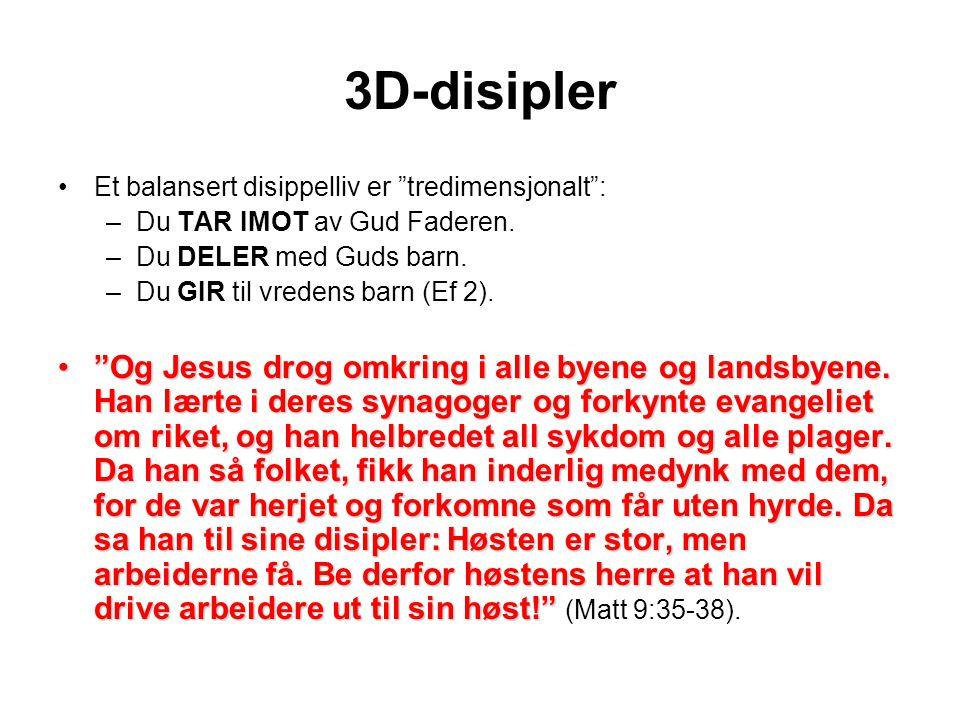 3D-disipler •Et balansert disippelliv er tredimensjonalt : –Du TAR IMOT av Gud Faderen.