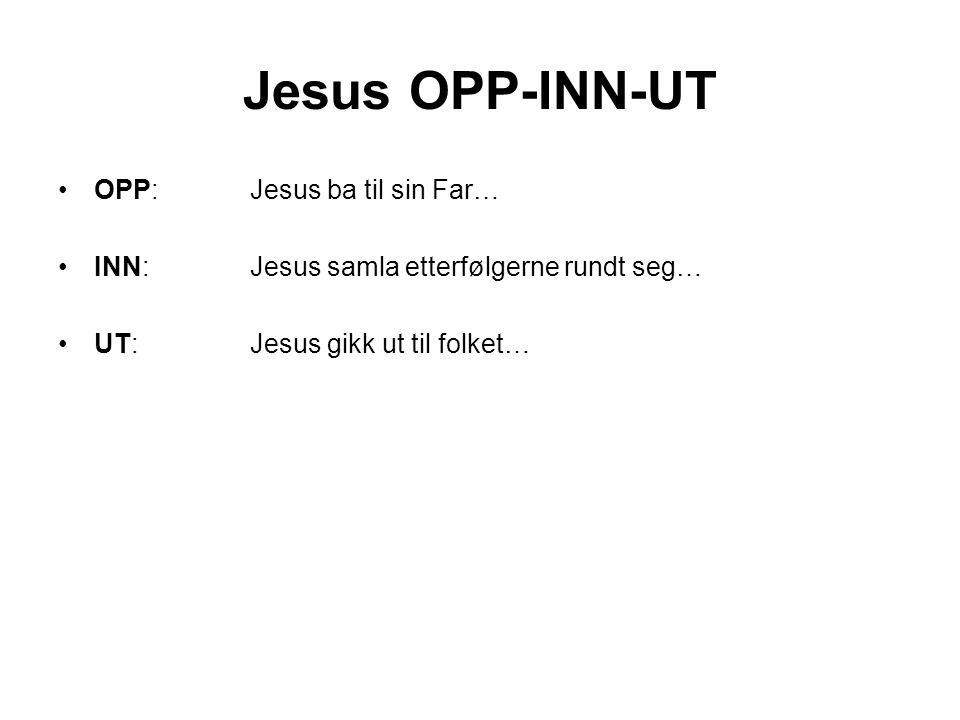 Jesus OPP-INN-UT •OPP: Jesus ba til sin Far… •INN: Jesus samla etterfølgerne rundt seg… •UT: Jesus gikk ut til folket…